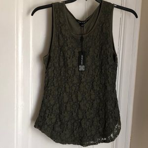Olive green lace tank top new with tag